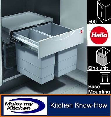 Hailo 30ltr Space Saving Tandem Kitchen Recycling Waste Bin For 500mm Unit • 124.99£