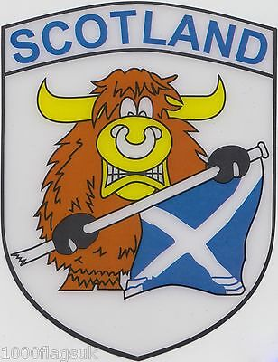 Scotland Muckle Highland Cow Flag Vinyl Car Window Sticker  • 3.50£
