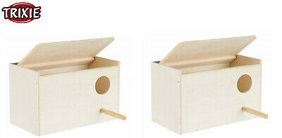 £13.98 • Buy 2 X Trixie Wooden Budgie Nesting Box With Perch Cage Aviary Opening Top 5630