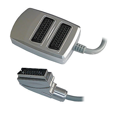 2 Two Way Scart Splitter Switch Box AV Adaptor 2 Devices Into 1 TV - SENT TODAY • 6.99£