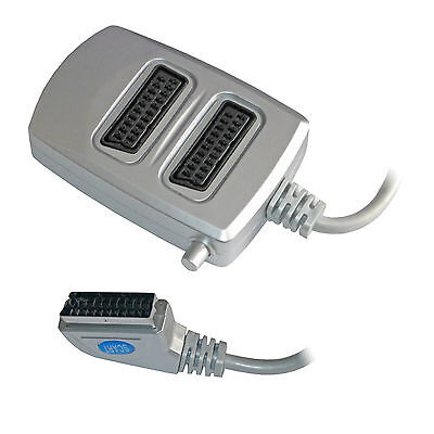 2 Two Way Scart Splitter Switch Box AV Adaptor 2 Devices Into 1 TV - SWITCHED • 6.99£