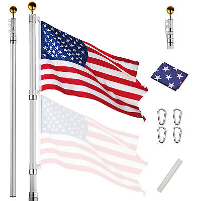 25ft Flag Pole Telescopic Aluminum Flagpole Kit US Flag Ball 2 Flag Halyard Fly • 49.99$