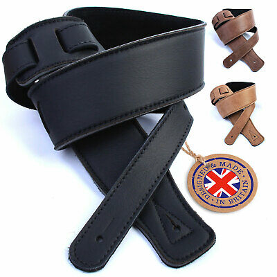 $ CDN44.64 • Buy Genuine Leather Guitar Strap Electric Acoustic Bass Soft Padded UK Handmade