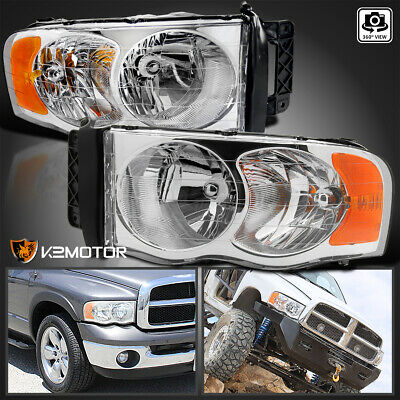 $73.38 • Buy For 2002-2005 Dodge Ram 1500 2003-2005 2500 3500 Crystal Headlights Left+Right