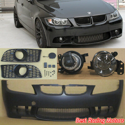 $429.99 • Buy M3 Style Front Bumper + Glass Projector Fog Fit 06-08 BMW E90 E91 4dr 3-Series