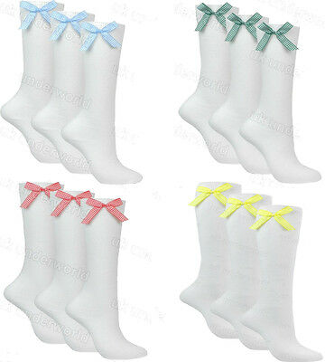 Girls Socks 3 Pairs Ladies White Knee High School With Gingham Check Satin Bow • 6.49£