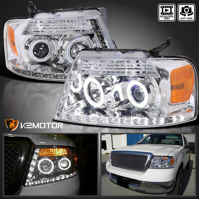 $128.61 • Buy Fit 2004-2008 Ford F150 LED Strip Bar Clear Halo Projector Headlights Lamps L+R