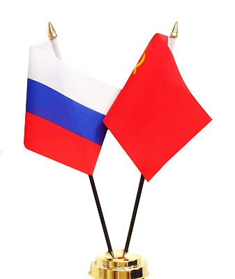 Russian Federation & USSR Soviet Union Russia Double Friendship Table Flag Set • 8£