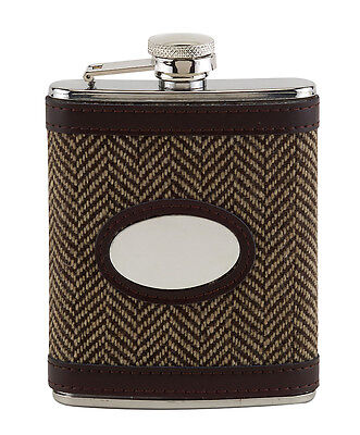 £19.99 • Buy Tweed Leather Covered Hip Flask  Design Engravable Gift Shooting CLEARANCE