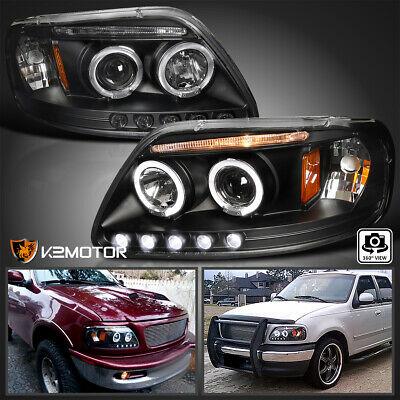 $122.38 • Buy Fit 1997-2003 Ford F150 LED Strip Halo Projector Headlights Black Left+Right