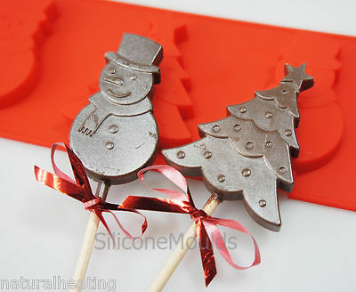 4 Cell SNOWMAN CHRISTMAS TREE Silicone Mould Chocolate Resin Wax Soap Crayon • 4.99£