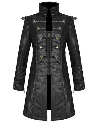 Punk Rave Mens Steampunk Jacket Coat Black Goth Punk Faux Leather Military • 99.99£