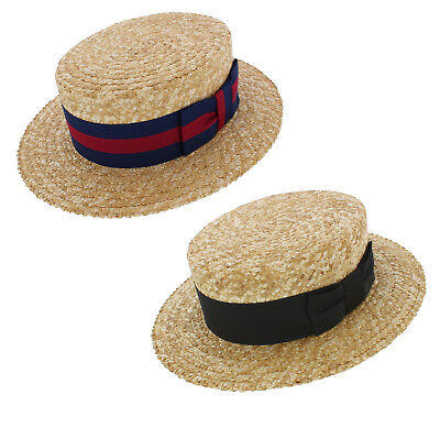 £46.99 • Buy Olney Traditional Natural Straw Boater Hat With A Choice Of Black Or Guards Band