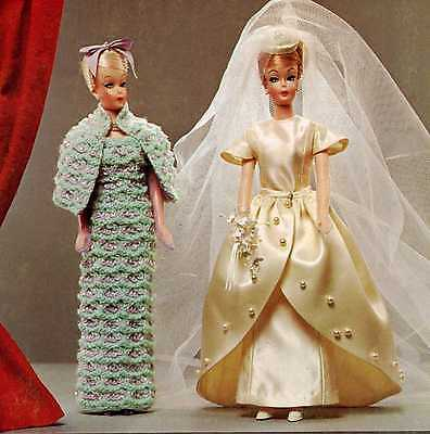 Vintage Crochet Knit Sewing PATTERN For Barbie 173 Wedding Dress Gloves Viel Hat • 8.49£