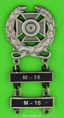 $16.95 • Buy Army Expert Marksmanship Badge With M-14 & M-16 Qualification Bars