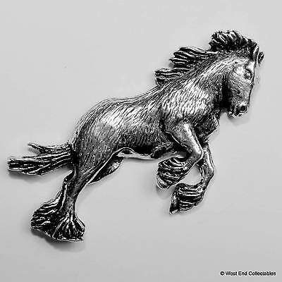 Shire Clydesdale Horse Pewter Pin Brooch -British Handmade- Horse Gift Present • 5.99£