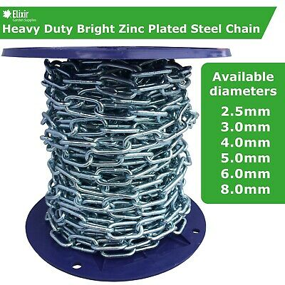 Steel Chain Strong Heavy Duty Bright Zinc Plated Welded Security Links • 18.39£