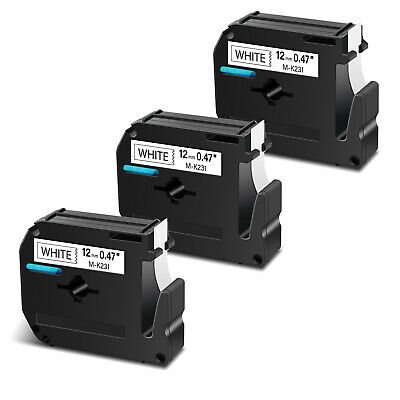 $8.96 • Buy 3PK For Brother P-touch PT-65  MK231 M-K231 M231 Black On White Label Tape 12mm