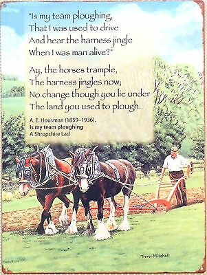 Plough Poem A.E.Housman Shire Horse Reproduction Metal Sign Gift CLEARANCE • 12.99£