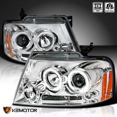 $138.38 • Buy Fits 2004-2008 Ford F150 LED Halo Clear Projector Headlights Lamps Left+Right