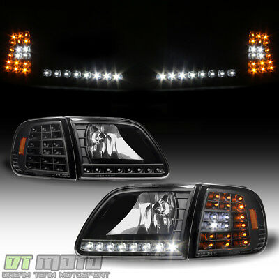 $118.99 • Buy Blk 1997-2003 Ford F150 Expedition Headlights W/ DRL LED Corner Signal Headlamps
