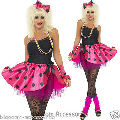 AU28.45 • Buy CL363 Ladies 80s Pink Tutu Instant Kit Headband Skirt Gloves Fancy Dress Costume