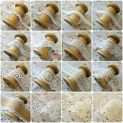Vintage Style Lace Trim Crochet Ivory White Cream Wedding Sewing Bridal Ribbon • 2.35£