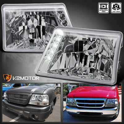$77.38 • Buy Fits 1998-2000 Ford Ranger Clear Headlights Lamps W/ LED Strip Left+Right 98-00