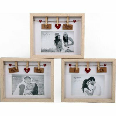 Natural Wood Wooden Box Picture Photo Frame 6 X 4 Decorative Washing Line Pegs  • 7.99£