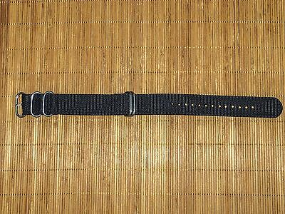 $6.99 • Buy Generic Military-Style Nylon Watch Band Strap 22mm Black Satin Stainless -NEW