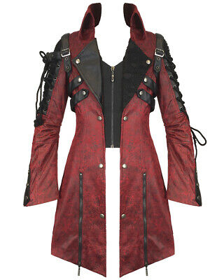 Punk Rave Poison Jacket Mens Red Black Faux Leather Goth Steampunk Military Coat • 114.99£