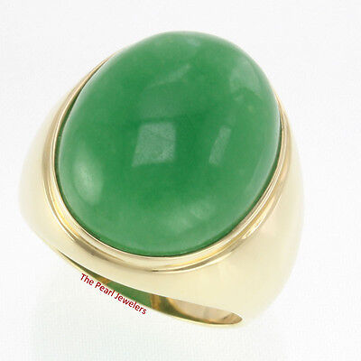 £963.64 • Buy 20 X 25mm Cabochon Green Jade Solitaire Men's Ring Set 14k Solid Yellow Gold TPJ