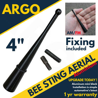 Short 4  Black Bee Sting Car Aerial Mast Antenna Radio Roof Aerial AM FM Small • 3.95£