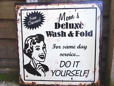 Vintage Sign Mom's Wash And Fold Laundry Plaque Same Day Service  Decorative • 9.95£