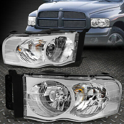 $83.28 • Buy For 02-05 Dodge Ram 1500 2500 3500 Chrome Housing Clear Corner Headlight Lamps