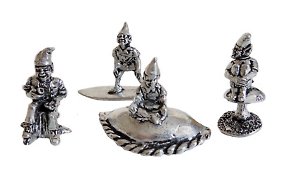 £22 • Buy Cornish Pixie Piskey Pewter Ornament Set Of 4 - Hand Made In Cornwall