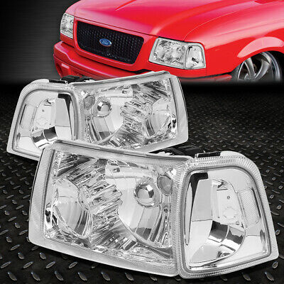 $81.88 • Buy For 01-11 Ford Ranger Chrome Housing Clear Corner Headlight Replacement Headlamp