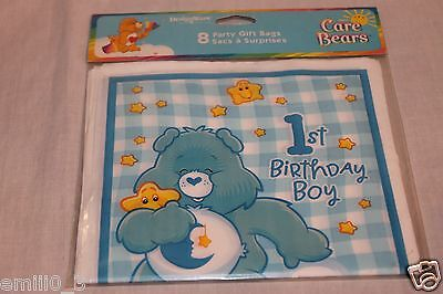 New   Care Bears 1st Birthday Boy 8 Loot Bags  Party Supplies   • 1.88£