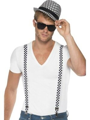 £12.86 • Buy Ska Two Tone Instant Kit Braces And Hat Adult Mens Smiffys Fancy Dress Costume