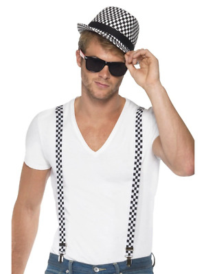 Ska Two Tone Instant Kit Braces And Hat Adult Mens Smiffys Fancy Dress Costume • 12.86£