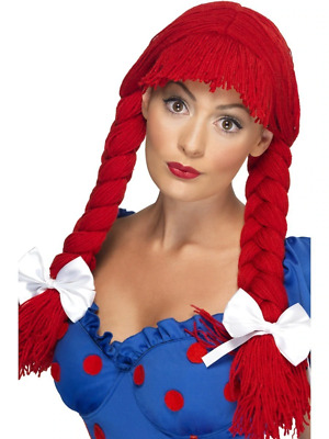 £10 • Buy Red Rag Doll Pigtail Wig W/ Fringe & Bows Womens Smiffys Fancy Dress Costume
