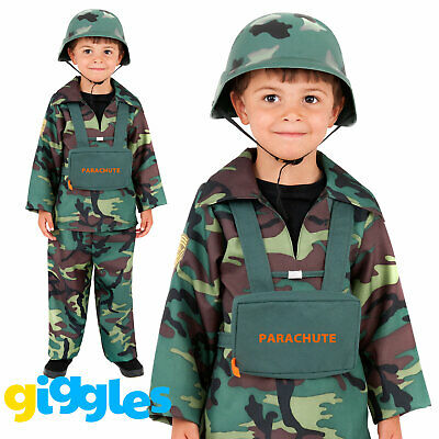£9.92 • Buy Boys Army Costume Uniform Fancy Dress Camouflage Soldier Book Day Week Outfit