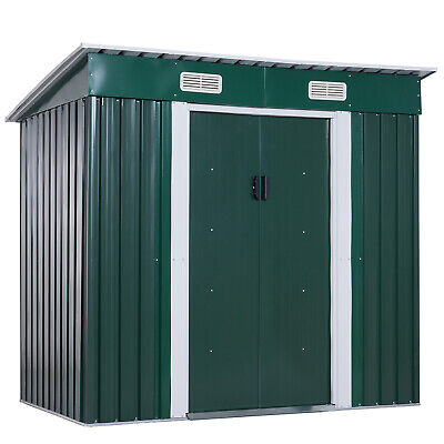 Outsunny Metal Garden Shed Roof Storage Lockable Patio Tool Kit Free Foundation • 209.99£