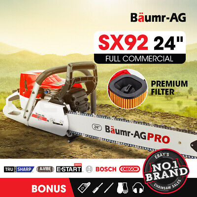 AU229 • Buy BAUMR-AG Petrol Commercial Chainsaw 24 Bar E-Start Chain Saw Top Handle Pruning