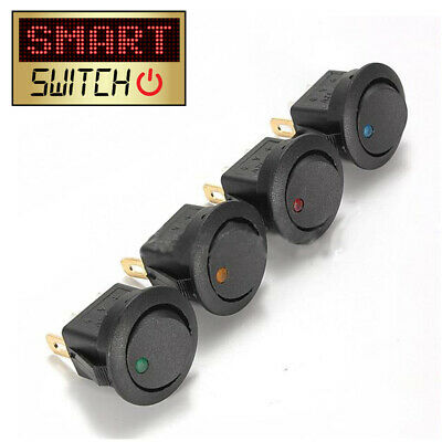 SmartSwitch 12V Illuminated Round Rocker ON/OFF Button Switch Car/Van/Dash Light • 2.99£
