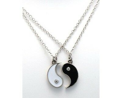 AU11.09 • Buy New Ying And Yang Yin BEST FRIENDS Rhinestones 2 Necklace Pendant