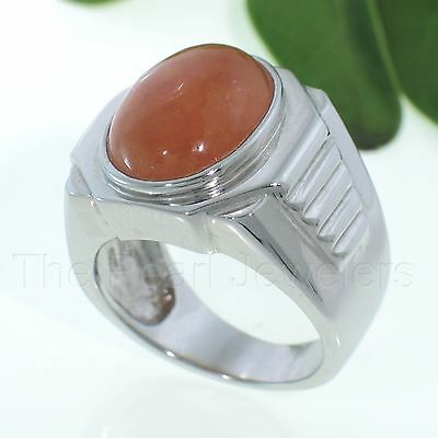 £34.04 • Buy Solid 925 Sterling Silver Cabochon Amber Red Jade Men's Ring - TPJ