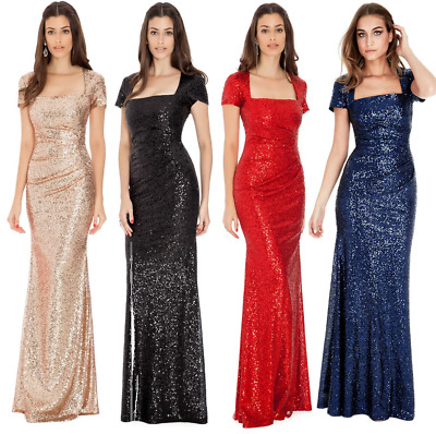 £54.99 • Buy Goddiva Sequin Square Neck Evening Maxi Gown Dress Prom Party Ball Bridesmaid