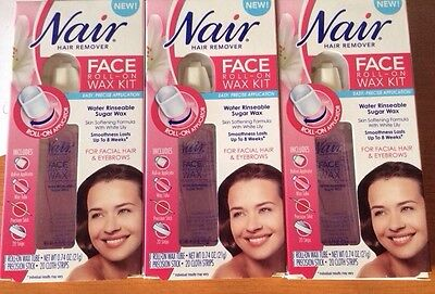 $8.69 • Buy 6 Pack Nair Hair Remover Eyebrows Lip & Face Roll-on Wax Kit Facial 120 Strips!!