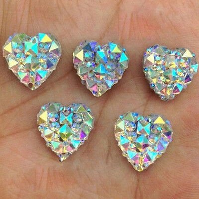 £2.18 • Buy Hot 50Pcs Clear AB Crystal Heart Shape Resin Charms Beads Craft Jewelry Findings